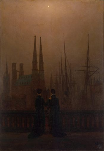 Night in a Harbour (Sisters) | David Friedrich Caspar | oil painting