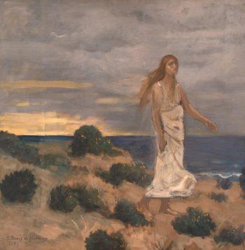 Woman on the Beach   Puvis de Chavannes Pierre   oil painting