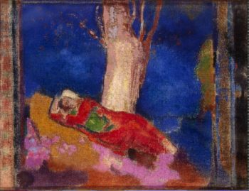 Woman Sleeping under a Tree | Redon Odilon | oil painting
