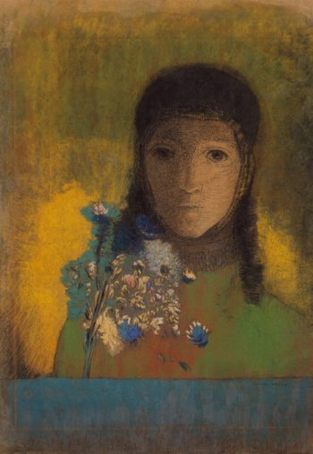 Woman with Wildflowers | Redon Odilon | oil painting