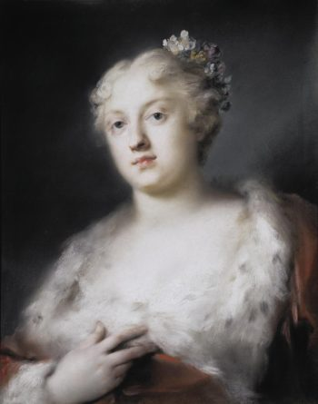 Portrait of a young Lady in a Dress Trimmed with Fur   Carriera Rosalba   oil painting