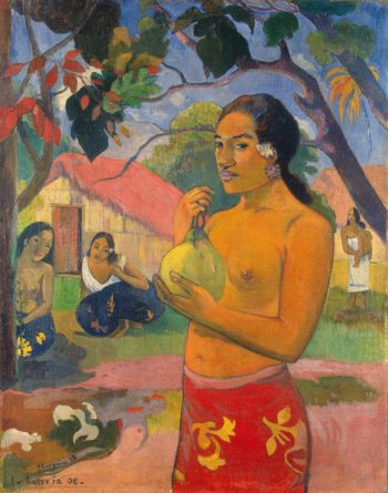 Woman Holding a Fruit Where Are You Going (Eu haere ia oe ) | Paul Gauguin | oil painting