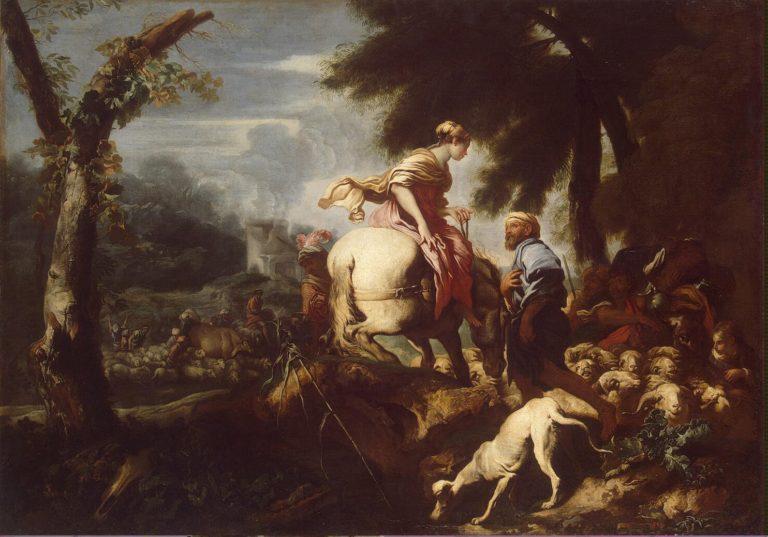Isaac Meeting Rebecca   Castiglione Giovanni Benedetto (Il Grechetto)   oil painting