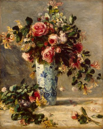 Roses and Jasmine in a Delft Vase | Pierre-Auguste Renoir | oil painting