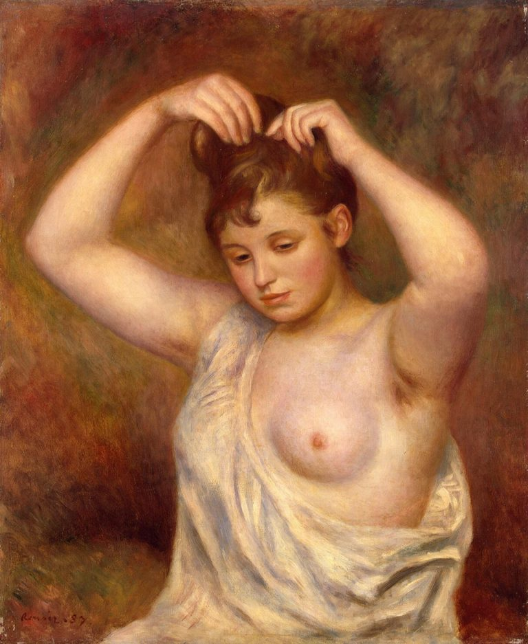 Woman Arranging her Hair | Pierre-Auguste Renoir | oil painting