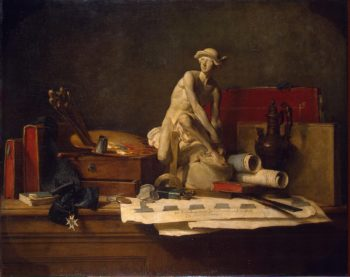 Still Life with Attributes of the Arts   Chardin Jean-Simeon   oil painting
