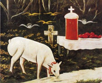 Lamb and Easter Table with Flying Angels | Niko Pirosman | oil painting