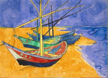 Boats at Saintes-Maries - G | Vincent van Gogh | oil painting