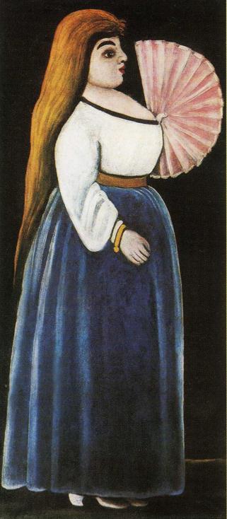 Ortachali Beauty with a Fan   Niko Pirosman   oil painting