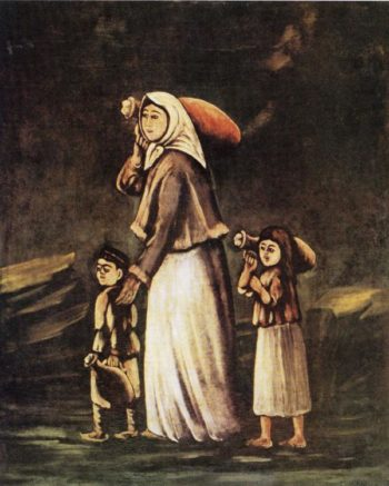 Peasant Woman with Children Goes for Water | Niko Pirosman | oil painting