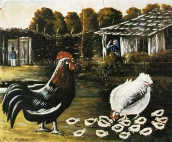 Rooster and Hen with Chickens   Niko Pirosman   oil painting