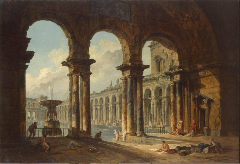 Ancient Ruins Used as Public Baths | Hubert Robert | oil painting