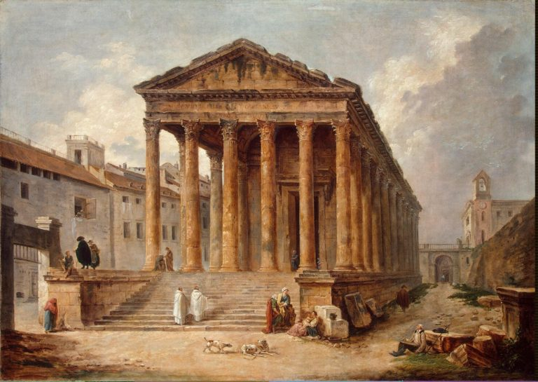 Ancient Temple The Maison Carree at Nimes | Hubert Robert | oil painting
