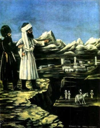 Shamil with a Bodyguard   Niko Pirosman   oil painting