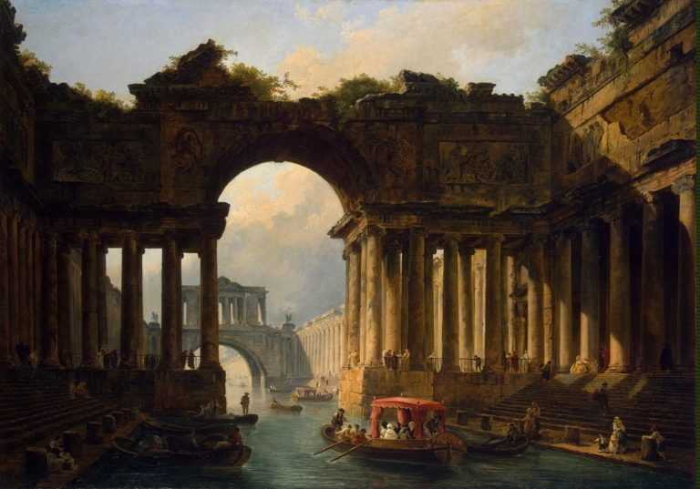 Architectural Landscape with a Canal | Hubert Robert | oil painting