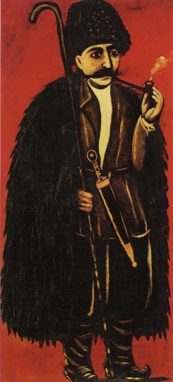 Shepherd in a Sheepskin Cloak on a Red Background   Niko Pirosman   oil painting
