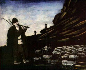 Shepherd with Flock   Niko Pirosman   oil painting