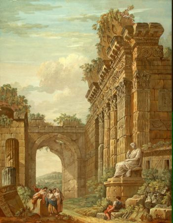Architectural Fantasy   Clerisseau Charles-Louis   oil painting