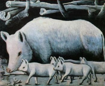 Sow with Piglets | Niko Pirosman | oil painting
