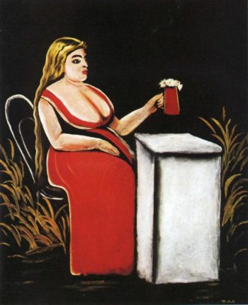 Woman with a Mug of Beer | Niko Pirosman | oil painting