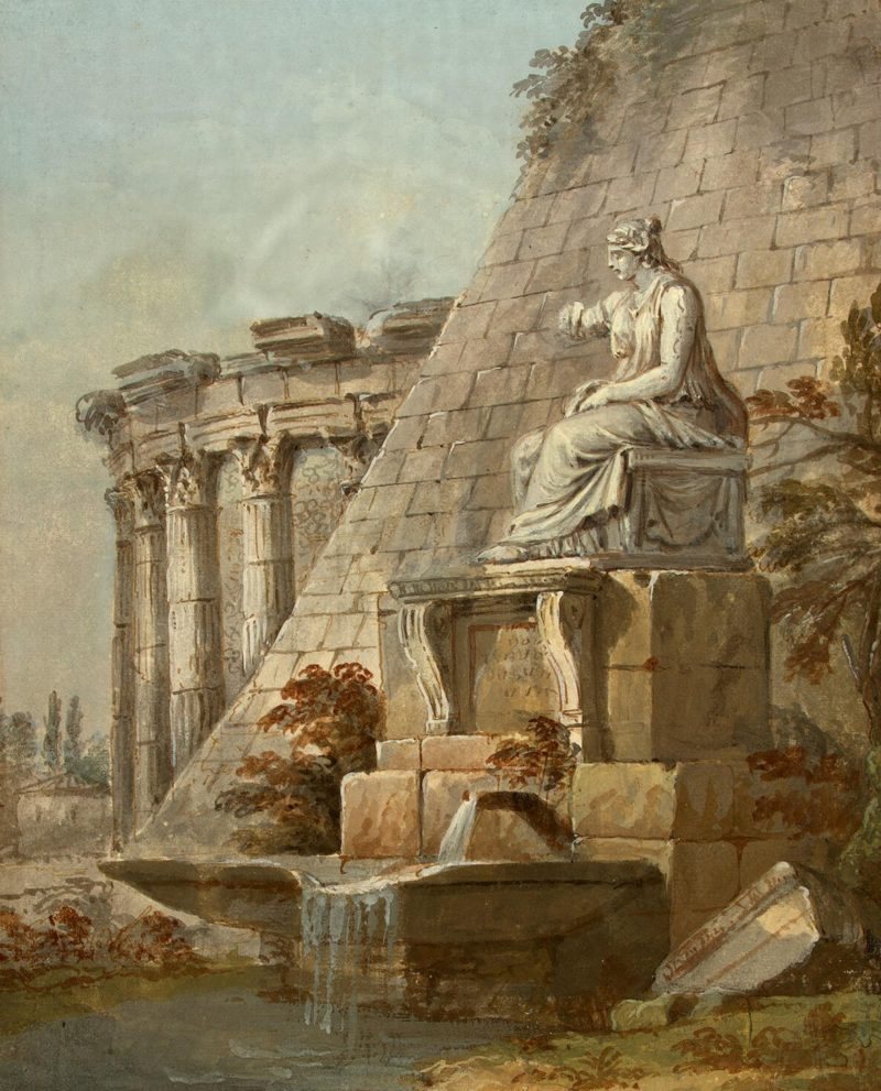 Architectural Fantasy (with the statue of Terpsichore) | Clerisseau Charles-Louis | oil painting