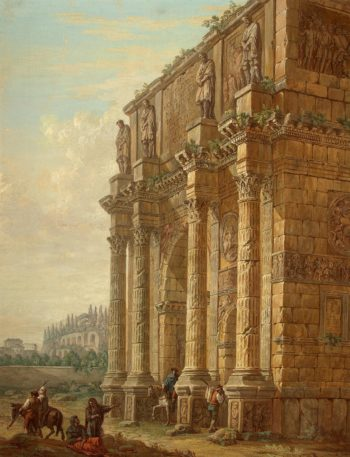 Constantine Triumphal Arch in Rome   Clerisseau Charles-Louis   oil painting