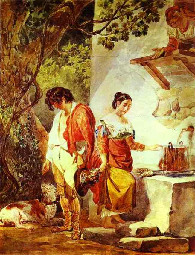 An Interrupted Date 1823 1827   Karl Brulloff   oil painting