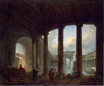 Pool Surrounded by a Colonnade (Villa Giulia ) | Hubert Robert | oil painting