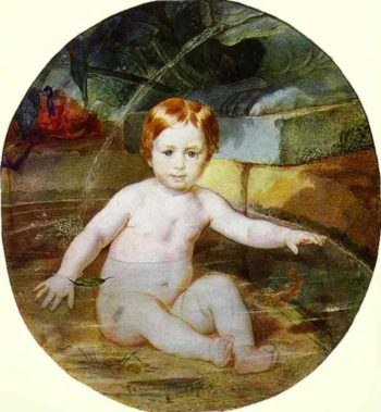 Child in a Swimming Pool Portrait of Prince A G Gagarin in Childhood 1829 | Karl Brulloff | oil painting