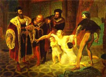 Death of Inessa de Castro Morganatic Wife of Portuguese Infant Don Pedro 1834 | Karl Brulloff | oil painting