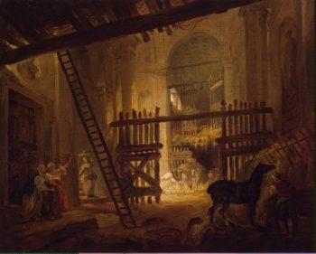 Stable in Ruins of the Villa Giulia   Hubert Robert   oil painting