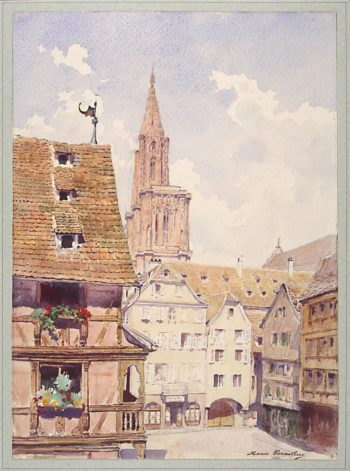 View of a Street and the Cathedral Tower in Strasbourg | Cornelius Marie Lucie | oil painting
