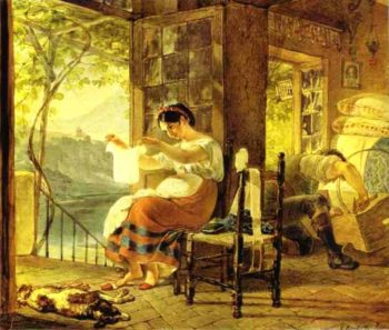 Italian Woman Heavy with a Child Examining a Shirt and her Husband Making a Cradle 1831 | Karl Brulloff | oil painting
