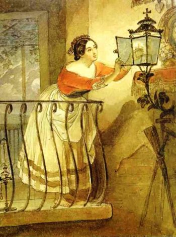 Italian Woman Lightning a Lamp Before the Image of Madonna 1835 | Karl Brulloff | oil painting