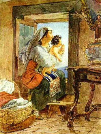 Italian Woman with a Child by a Window 1831 | Karl Brulloff | oil painting