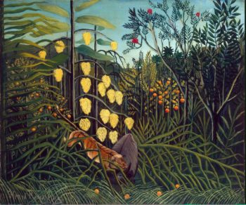 In a Tropical Forest. Struggle between Tiger and Bull | Rousseau Henri | oil painting
