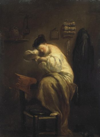 Woman Looking for Fleas | Crespi Giuseppe Maria (Lo Spagnolo) | oil painting