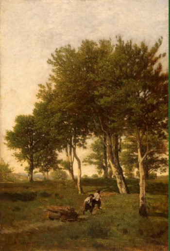 Landscape with Two Boys Carting Faggots | Harpignies Henri | oil painting