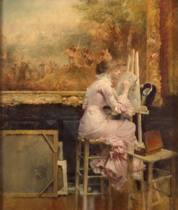 Watercolourist in the Louvre | Dagnan-Bouveret Pascal Adolf Jean | oil painting