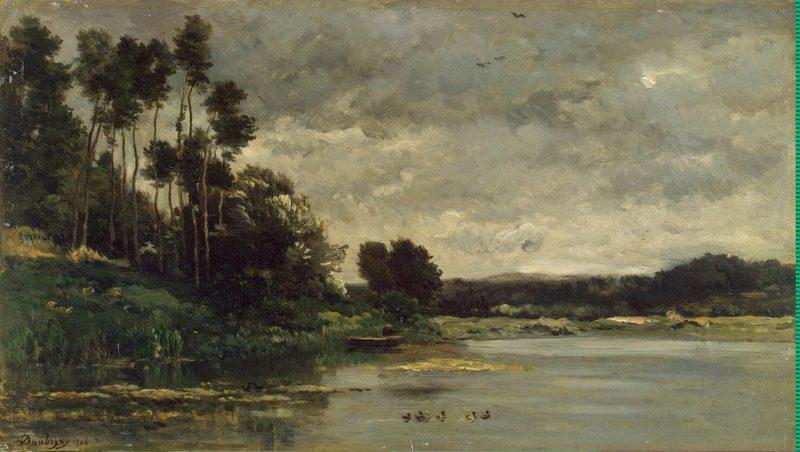 River Bank   Daubigny Charles-Francois   oil painting