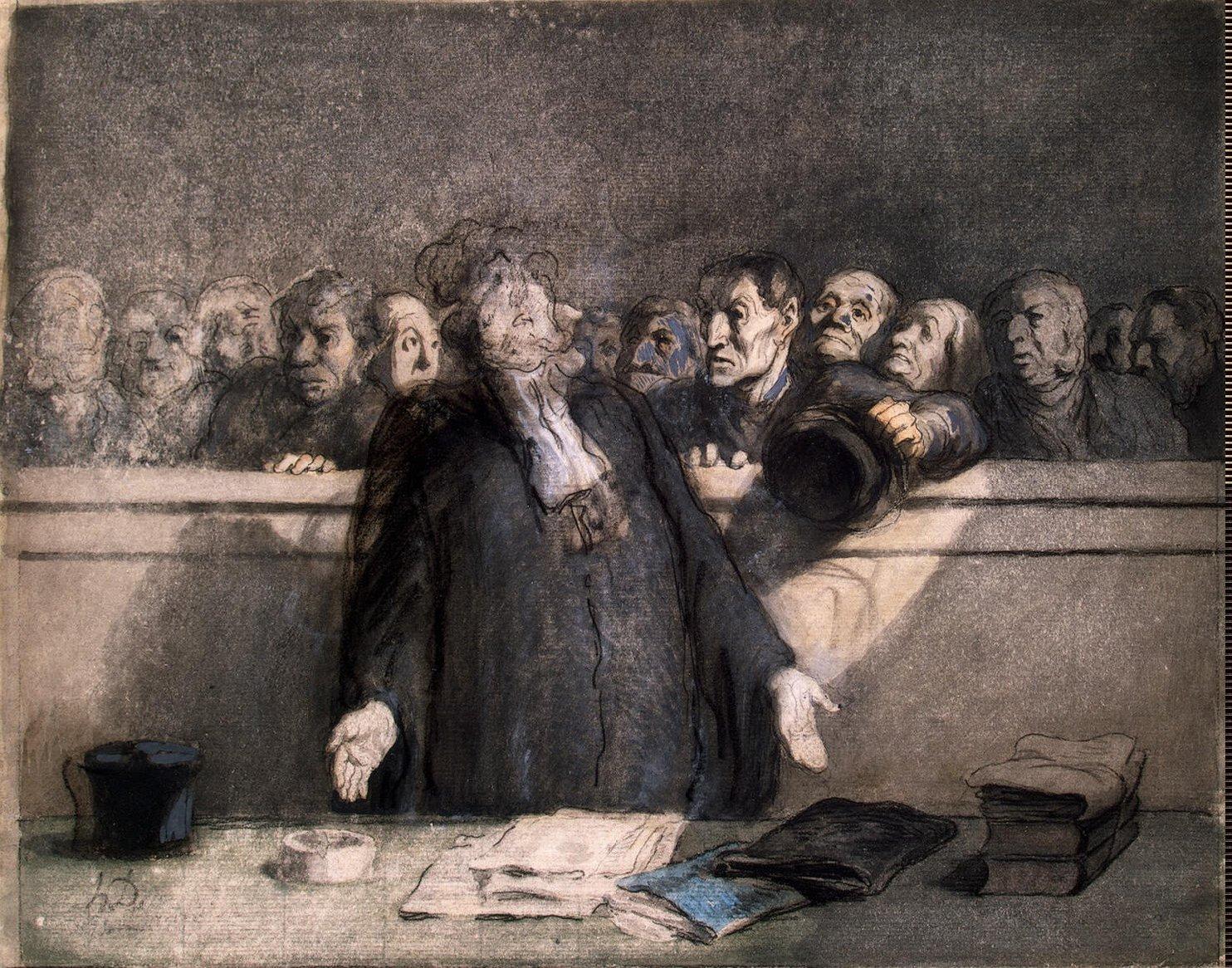 Defense-Plea-G-Daumier-Honore-oil-painti