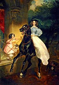 Rider Portrait of Giovanina and Amacilia Pacini the Foster Children of Countess Yu P Samoilova 1832 | Karl Brulloff | oil painting