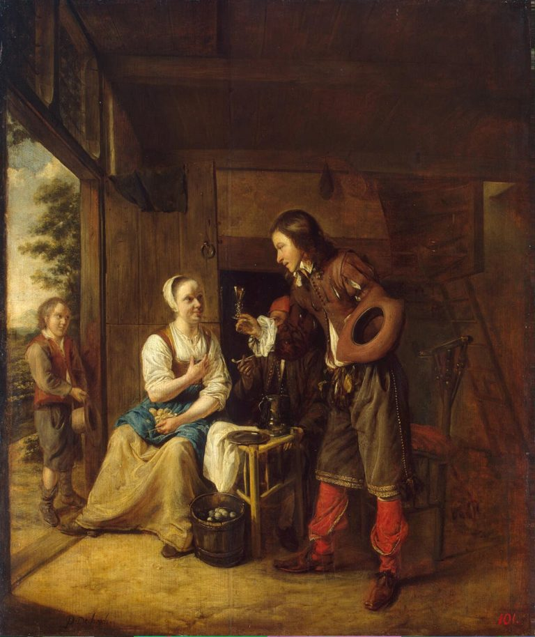 Soldier Offering a Woman a Glass of Wine | Hooch Pieter de | oil painting
