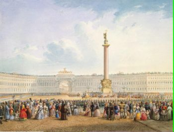 View of Dvortsovaya (Palace) Square and the General Staff Building St Petersburg | Sadovnikov Vasily Semyonovich | oil painting