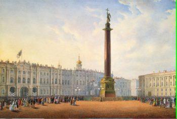 View of Dvortsovaya (Palace) Square and the Winter Palace St Petersburg | Sadovnikov Vasily Semyonovich | oil painting