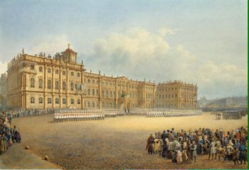 View of the Winter Palace from the Admiralty. Guard Mounting | Sadovnikov Vasily Semyonovich | oil painting