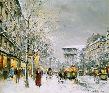Boulevard de la Madeleine Sous la Neige | Antoine Blanchard | oil painting