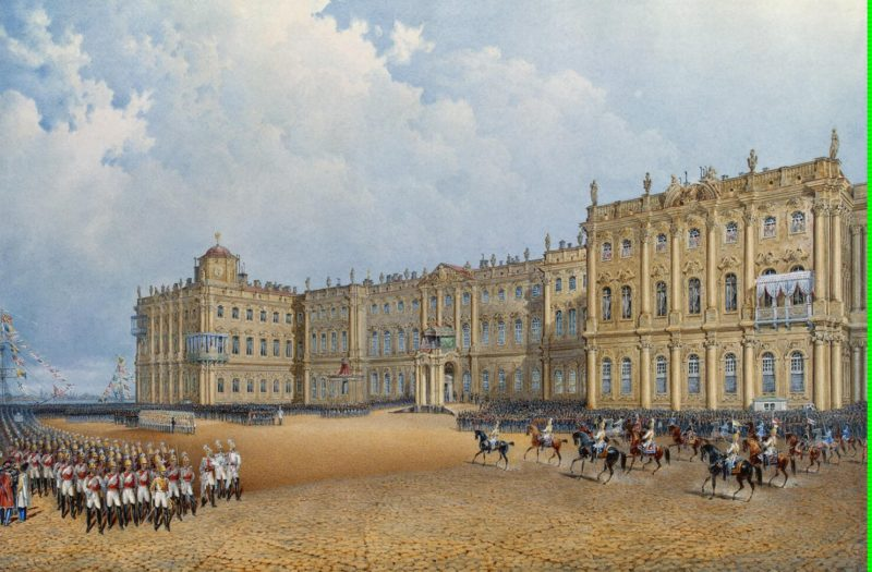 View of the Winter Palace from the Admiralty | Sadovnikov Vasily Semyonovich | oil painting