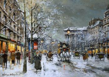 Boulevard de la Madeleine Sous la Neige1 | Antoine Blanchard | oil painting