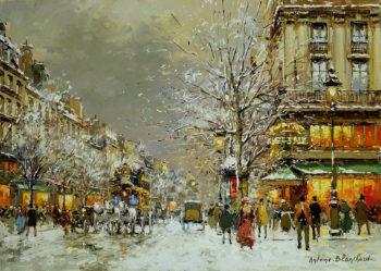 Boulevard des Capucines et Cafe de la Paix en Hiver | Antoine Blanchard | oil painting